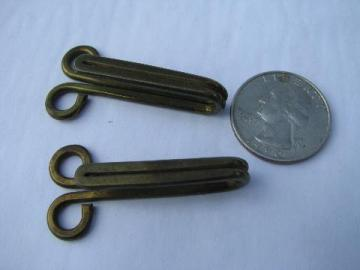 big heavy old brass coat or horse blanket hooks, vintage sewing notions