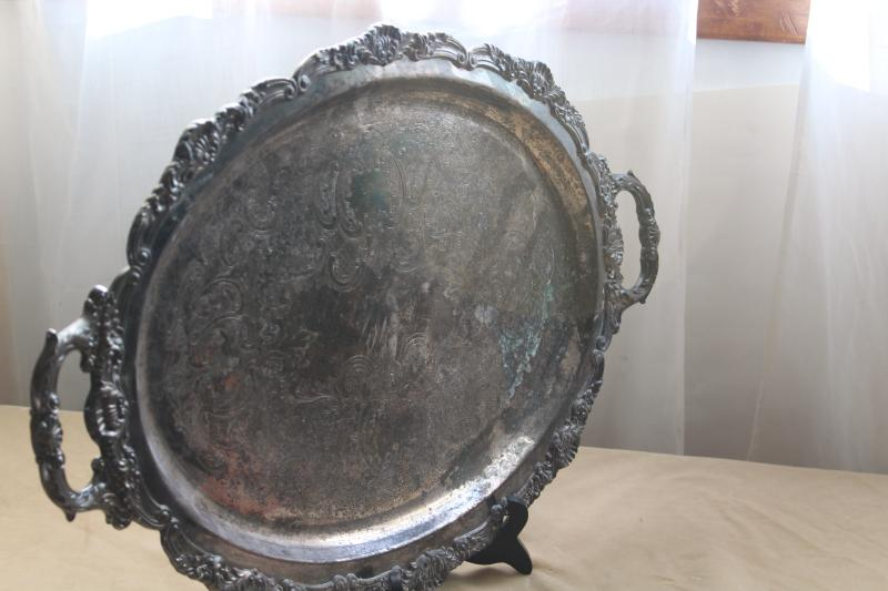 big heavy ornate vintage silver tray, antique salver silverplate on coppe