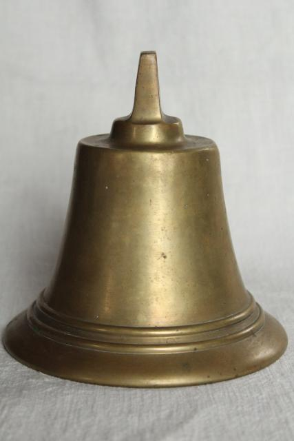 big heavy solid brass bell without clapper, vintage farm dinner bell or old ship's bell