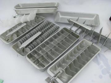 big lot assorted retro vintage aluminum ice cube trays