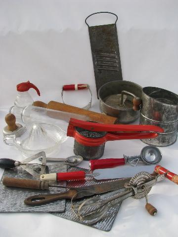 Big Lot Of Vintage Kitchen Utensils U0026 Kitchenware, Some W/ Red Handles