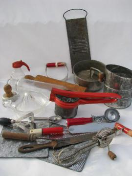 big lot of vintage kitchen utensils & kitchenware, some w/ red handles