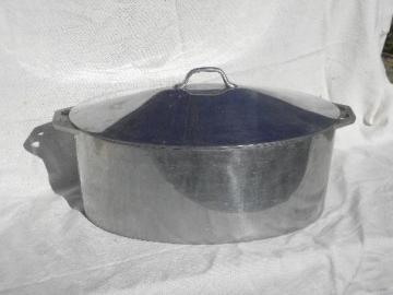 big old Firestone aluminum turkey roaster, vintage cookware roasting pan