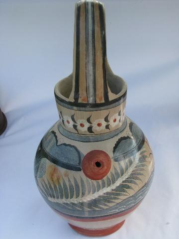 big old Mexican pottery pitcher, hand-painted Zuni doves, vintage Mexico