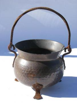 big old Swiss hammered copper kettle w/ wrought iron handle, vintage Switzerland
