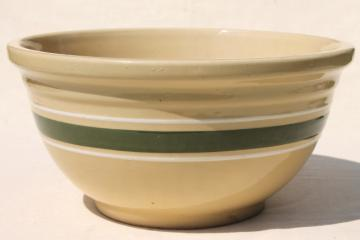 big old Watt pottery bowl, #12 green band yellow ware mixing bowl, 1930s vintage