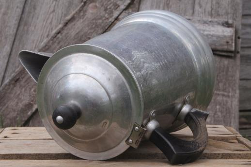 big old aluminum coffee pot, farmhouse coffeepot for camping or primitive kitchen