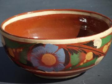 big old bowl, hand painted Mexican pottery, vintage Mexico folk art