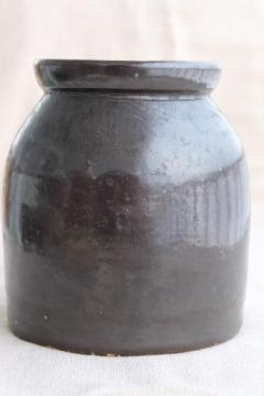big old brown stoneware crock from Illinois farmhouse, vintage farm primitive