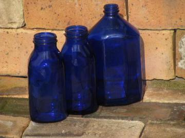 big old cobalt blue glass medicine bottles, vintage bottle lot