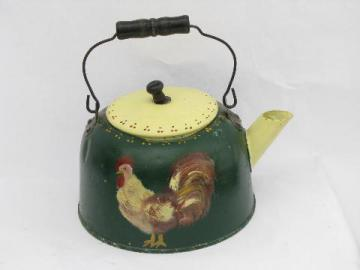 big old country primitive kettle planter, hand painted folk art rooster