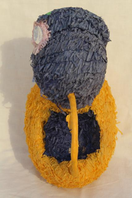 big old crepe paper Easter basket chick, pinata style papier mache vintage Easter decoration