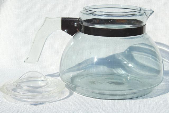 big old early Pyrex glass tea kettle, blue tint Flameware glass teapot 1930s vintage