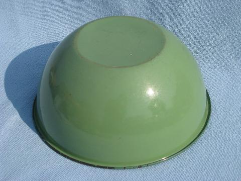 big old enamelware kitchen bowl, vintage jadite green & pale pink!