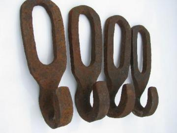 big old farm primitive forged iron wall hooks, vintage hardware lot