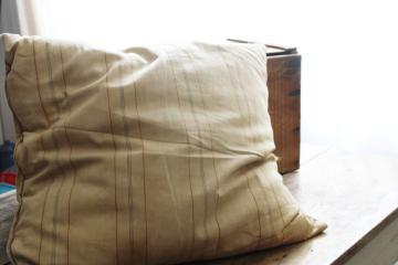big old feather pillow, square cushion primitive vintage brown stripe cotton ticking