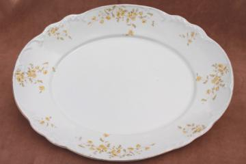 big old flowered china platter or tray, early 1900s vintage English ironstone