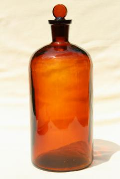 big old glass apothecary pharmacy medicine bottle, root beer amber brown glass