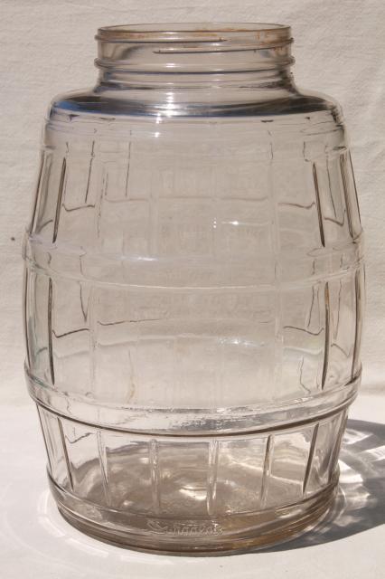 Big Old Glass Pickle Barrel Jar Vintage General Store