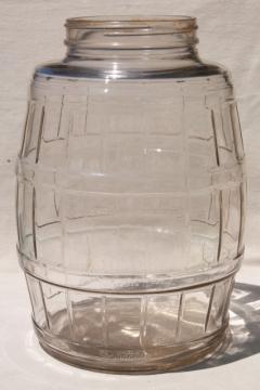 big old glass pickle barrel jar, vintage general store counter canister