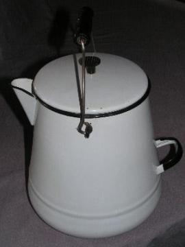big old graniteware coffee pot for cabin or lodge