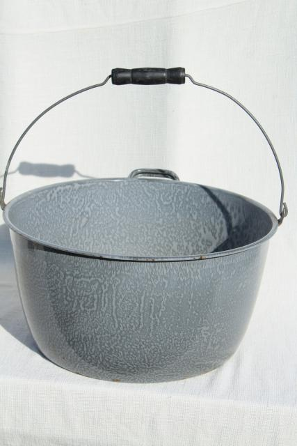 big old grey graniteware enamel kettle, bail handle cooking pot, vintage enamelware
