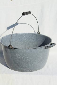 big old grey graniteware enamel kettle, bail handle cooking pot, vintage enamelware