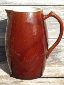 big old heavy stoneware jug, antique vintage pottery milk pitcher