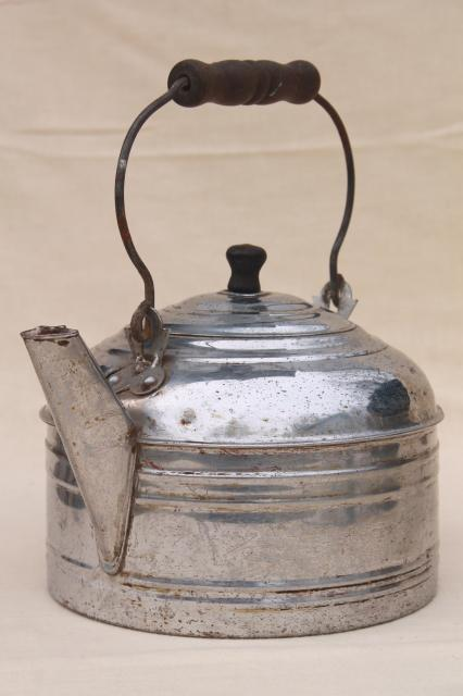 big old one gallon tea kettle, vintage Revere teakettle w/ primitive bail wood handle