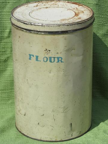 big old primitive tin, vintage cream paint canister lettered Flour
