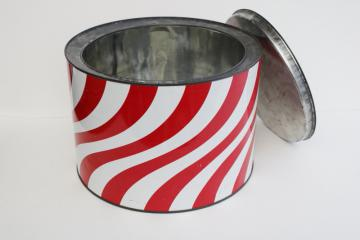 big old round candy tin, vintage red & white stripe peppermint twist store display can