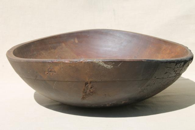 Completely new big old rustic wood bowl, antique vintage farmhouse kitchen  KH09
