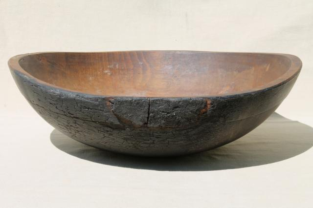 big old rustic wood bowl, antique vintage farmhouse kitchen primitive bowl out of round