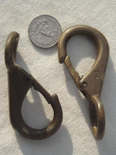 big old solid brass clips, lobster claw spring clasp hardware fittings