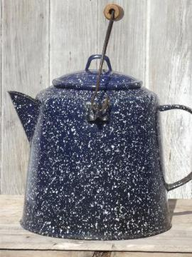 big old spatterware enamel coffee pot, camping coffee pot with wire handle