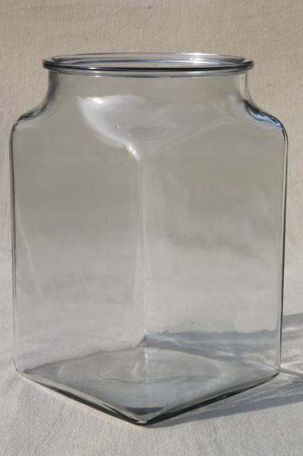 Big Old Square Glass Churn Jar Or Store Counter Canister