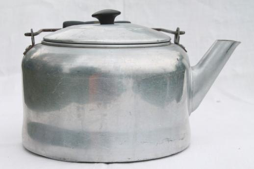 big old tea kettle for camp kitchen, vintage Comet aluminum tea pot holds one gallon