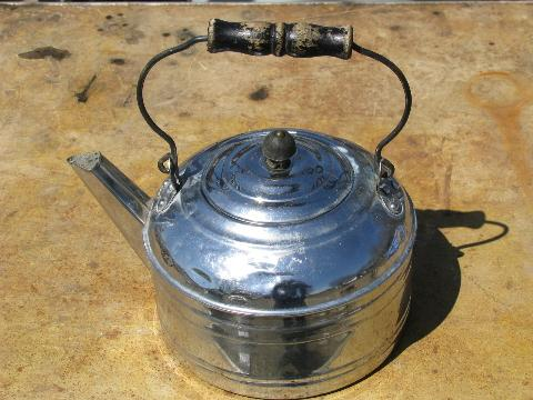 big old tinned copper tea kettle, vintage Revere