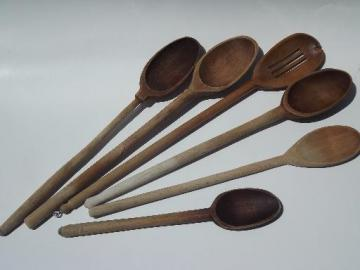 big old wooden soup stirring spoons, vintage wood kitchen spoon lot
