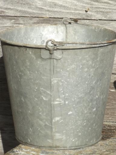 big old zinc metal farm pail primitive vintage dairy or garden bucket