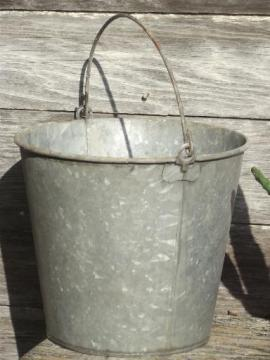 big old zinc metal farm pail, primitive vintage dairy or garden bucket