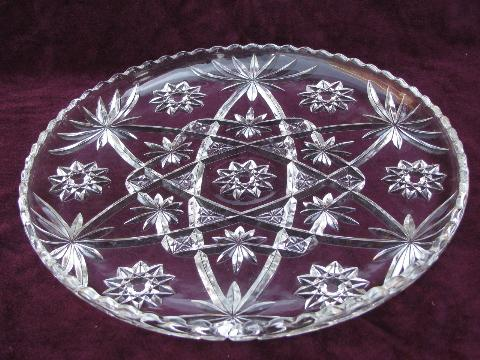 big pressed glass cake plate, vintage Anchor Hocking pres-cut pattern