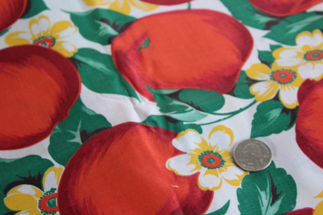 big red apple print vintage cotton fabric, farmhouse country kitchen style!