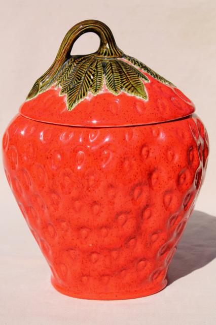 big red strawberry, 70s 80s vintage handmade ceramic cookie jar, retro!