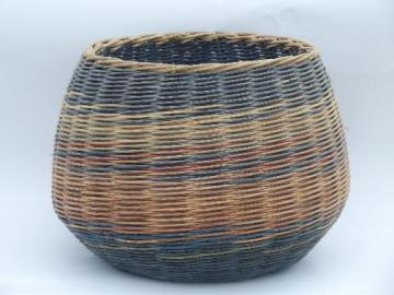 big round bottomed woven wicker basket, 80s vintage, colored stripes