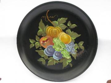big round hand-painted tole tray, 1940s- 50s vintage, autumn fruit on black