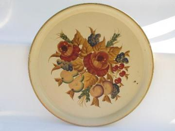 big round hand-painted tole tray, 1940s- 50s vintage, fruit & flowers on ivory