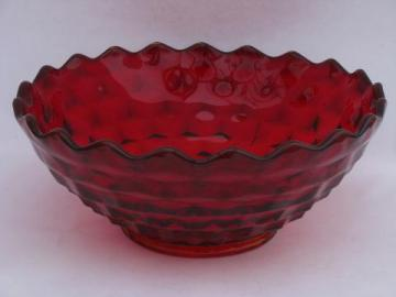 big ruby red Fostoria American cube pattern salad / punch bowl