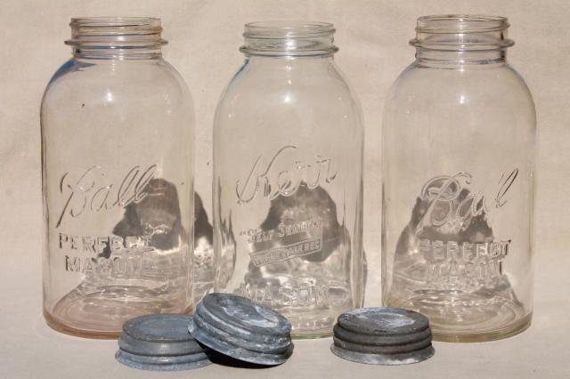 big two quart size glass mason jars vintage canning jar kitchen canisters. Black Bedroom Furniture Sets. Home Design Ideas