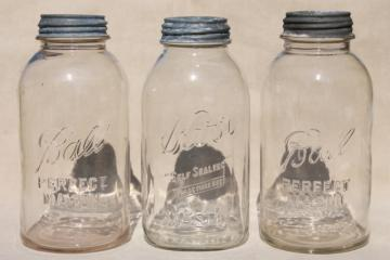 big two quart size glass mason jars, vintage canning jar kitchen canisters